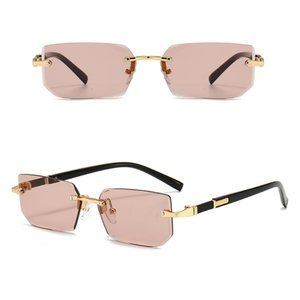 Detroit Style Square Rimless Sunglasses PINK
